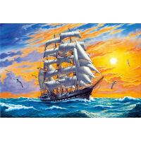 1000片木质拼图定制500风景油画扬帆起航 一帆风顺02