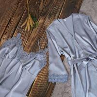 睡衣女夏冰丝性感吊带两件套短袖可外穿睡裙女夏天蕾丝家居服套装