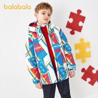 【4件3折�r:239.4】巴拉巴拉�和�羽�q服男童2020新款男孩冬童�b中大童外套撞色外衣潮
