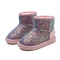 儿童雪地靴2017秋季新款女童亮片靴子公主短靴韩版宝宝加厚棉鞋