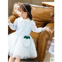 儿童针织网纱草莓印花套裙女童毛线背心衬衣纱裙两件套