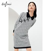 [5折��惠�r:240]伊芙�����L���B衣裙2020新款秋冬炸街�@瘦�赓|格子裙子