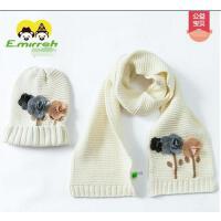 帽子围巾两件套  男女宝宝针织 帽 围巾 套头帽 儿童针织帽子围巾两件套复古花朵宝宝纯棉帽