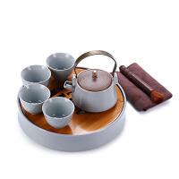 茶具套装 旅行便携汝窑功夫茶具整套一壶四杯 陶瓷茶盘茶壶套组 汝窑一壶四杯套装