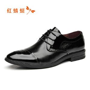 红蜻蜓男鞋2017新品时尚漆皮商务正装皮鞋男鞋真皮办公室鞋正品