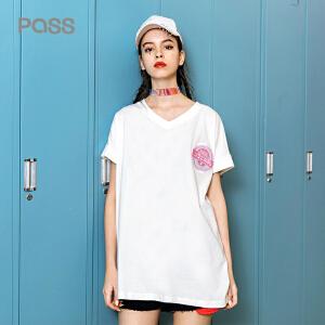 PASS2018夏装新款白色短袖t恤女宽松中长款V领套头百搭学生上衣潮