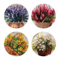 20191201125421563DMC十字绣客厅新款欧式花卉组合四幅小花组4选1挂画印花 HC3615石南花11CT