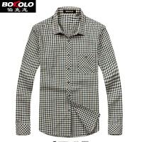 免烫防皱格子长袖衬衫男士带真口袋伯克龙男装修身休闲职业衬衫 B5888