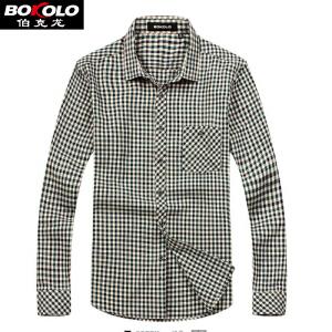 2件9折 3件8折 免烫防皱格子长袖衬衫男士 伯克龙男装休闲职业衬衫 B5888