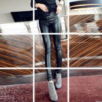 2017欧洲站秋冬显瘦高腰拉链皮裤女外穿薄款紧身打底裤PU皮小脚裤