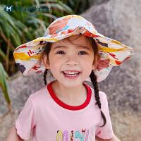 迷你巴拉巴拉儿童帽子2021夏款男童女童渔夫帽宝宝遮阳帽防护帽