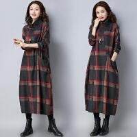 【仅限今日,满100减50】冬季新款女装英伦气质宽松大码高领呢子连衣裙FLA1043-222