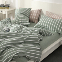 君别日系良品条纹水洗棉四件套 无印简约床品被套床单床笠款 2.0m(6.6英尺)床 床笠款套件