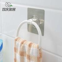 双庆魔力无痕贴浴室毛巾挂钩厕所卫生间厕所吸壁式免打孔挂环SQ3696