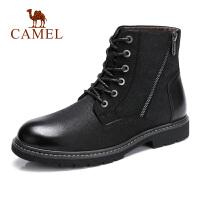 camel骆驼男鞋 秋季新款时尚休闲马丁靴真皮复古高帮马丁靴子男靴