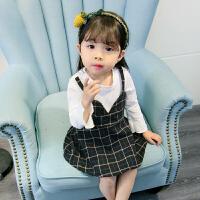 童话元素女童初春连衣裙格子长袖时髦洋气潮衣吊带裙儿童女宝宝春秋季连衣裙