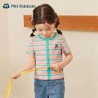 迷你巴拉巴拉儿童T恤2021夏季新款女童BM风柔软亲肤廓形针织短袖