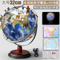 博目地球仪 32cm 高清 标准教学 经典中英地形灯光:32cm政区灯光地球仪