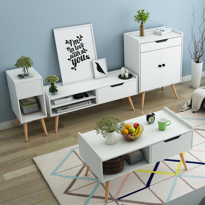 北欧电视柜简约现代迷你组合套装茶几卧室电视机柜小户型客厅地柜