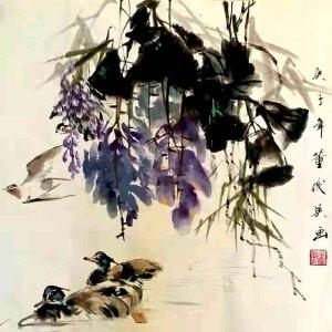 中国美术家协会理事,国家一级美术师,美国好莱坞电影公司总裁,中美慈善基金会会长,人民艺术家协会终身艺术顾问董俊英(鸳鸯行)