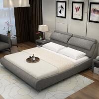 定制布艺床可拆洗主卧小户型双人1.8米1.5m卧室气动简约现代软床 +椰棕床垫+床头柜2个