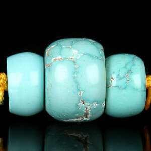 原矿高瓷绿松石算盘珠配珠套装