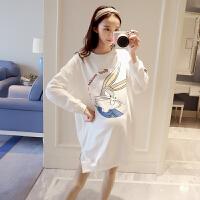 孕妇装春装2018新款韩版中长款卡通T恤宽松长袖孕妇卫衣春秋上衣 白色 均码