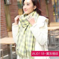 韩版格子毛线围巾 女网红同款时尚加长加厚时尚针织围巾 空调披肩两用潮户外运动新品