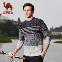 骆驼男装 秋季新款时尚套头修身日常休闲纯棉长袖居家毛衣男