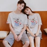 情侣睡衣 家居服女夏韩版宽松学生卡通纯棉男士短袖 可爱夏季套装