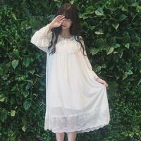 夏新款女装少女韩版清新公主睡裙长袖蕾丝可爱睡衣长裙连衣裙 白色 均码
