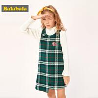 巴拉巴拉女童裙子儿童公主裙2019新款秋冬中大童连衣裙无袖羊毛潮
