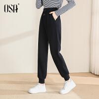 OSA欧莎2021年秋季新款宽松休闲卫裤直筒束脚裤针织运动裤女