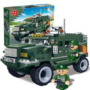 【当当自营】邦宝小颗粒塑料拼插积木益智儿童玩具军事越野王指挥车8252