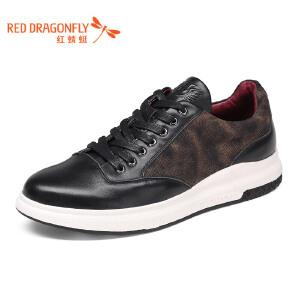 红蜻蜓皮鞋2017年春秋新款男士时尚休闲皮鞋真皮正品低帮鞋单鞋潮