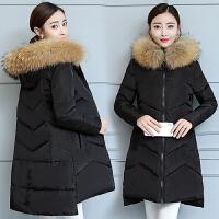 冬装新款反季大毛领羽绒女中长款韩版修身bf加厚棉衣外套