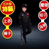 儿童演出服军装服装男童交警制服女童黑猫警长表演服舞蹈服秋季 图6 长袖5件套