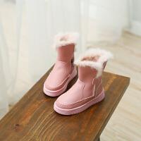 儿童防水雪地靴2017季新款女童中大童真皮靴子男童兔毛加绒棉鞋
