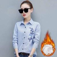 衬衫 女士大码条纹刺绣加绒加厚长袖衬衫2020年冬季新款韩版时尚潮流女式修身洋气女装衬衣