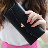 新款新款女士钱包 女 长款搭扣简约甜美学生薄钱包可爱两折皮夹子钱夹