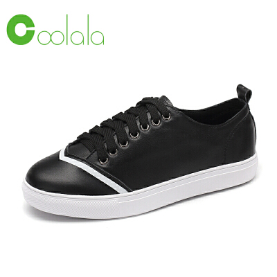 红蜻蜓coolala 真皮女单鞋新款时尚简约舒适女式休闲鞋拼色板鞋