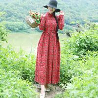 秋冬装新款民族风女装文艺抽绳松紧腰长袖加绒加厚碎花连衣裙长裙