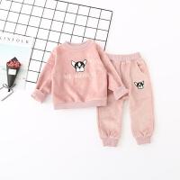 女童春季休闲套装婴儿卫衣两件套水貂绒小狗衣服宝宝休闲童装韩版 粉色