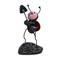 女生办公桌摆件 铁艺甲壳虫小蜜蜂小饰品摆件小清新创意可爱少女心桌面办公桌装饰 乳白色 甲壳虫树叶铲子