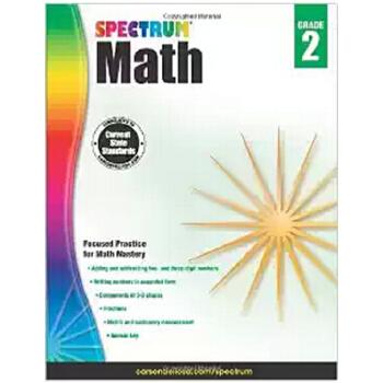 英文原版 数学练习册,2年级 Spectrum Math Workbook, Grade 2