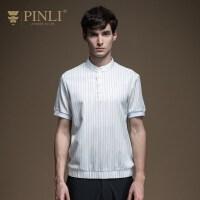 PINLI品立2020夏季新款男装修身圆领青年条纹短袖衬衫B202113170