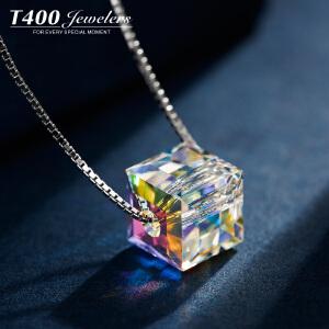 T400银项链女锁骨链简约日韩国吊坠配饰品采用施华洛世奇元素水晶  12285