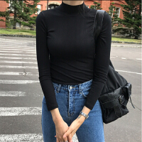 棉长袖T恤女半高领修身百搭中领黑色打底衫内搭秋冬女装紧身上衣
