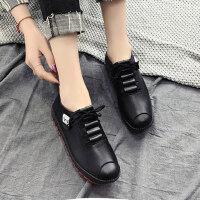 新款女鞋皮面懒人鞋一脚蹬鞋子女 户外休闲运动单鞋子女士平底鞋小皮鞋女