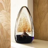 创意家居摆件装饰办公室桌结婚开业礼物玻璃工艺品发财树